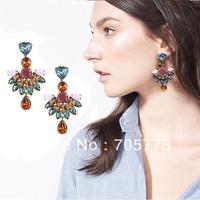 New Auth J-C/-J Crystal Jeweled Fan Drop earring 2014 Fashion Jewelry for Women Luxury  earrings