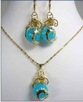 Charming gold plate dragon jade pendant necklace Earrings