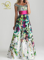 Printed Satin Fabirc Lace up Handmake Pleat And Beading Sweetheart Prom Dresses OL102342 Free Shipping