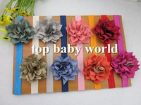50pcs/lot children hair accessories,Fabric Flowers  on FOE Elastic Headbands Infant Headbands flower headband