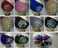 Free Shipping!2013 New Style Handmade Womens Headbands With Rhinestone Fashion Knitted Hair Headband For Winter Warm Wholesale