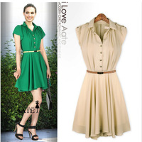 NEW Spring &Autumn European style plus size ladies collar  slim waist  chiffon  dresses with belt