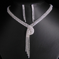2013 New style Free shopping High quality Gorgeous Wedding Jewelry sets Transparent color Necklace Earring sets