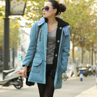 Free shipping newest 2013 winter plus size Casual detachable liner warm hooded coat cotton-padded jacket 2 colors