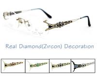 "Free Shipping Auth Original Brand ""Fiat Lux""  with Big Zircon Decoration  Titanium Glasses Diamond Rimless Frames Myopia Women"