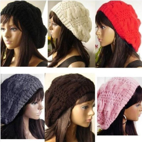 free shipping NEW CHIC WARM WINTER WOMEN BERET BRAIDED BAGGY KNIT CROCHET BEANIE HAT SKI CAP(China (Mainland))