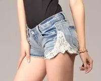 HOT 2015 New Women Slim hip lace stitching denim shorts Cotton jeans Wholesale xtj01