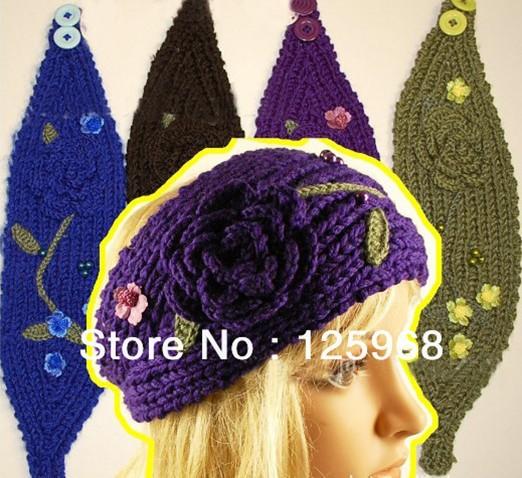 Free Shipping!2013 New Women Fashion Flower&Leaf Headbands,Ladies Handmade Knitted Crochet Cute Hats,Head Wrap Hair Headband(China (Mainland))