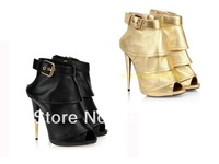 2014 Newest Gold/Black pumps high heel open toe ankle bootie gz sandals ruffle designer dress shoe