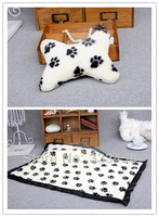 Comfortable!Pet Dog Cat Paw Print coral velvet warm blanket mat with pillow! Dog product accessories!Free shipping!