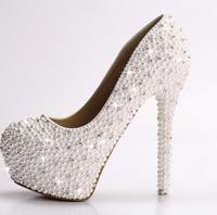 Pearl rhinestone high heels wedding shoes thin heels platform wedding shoes white diamond bridal pumpsshoes