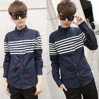 2013 men's spring clothing 100% cotton patchwork stripe color block shirt long-sleeve shirt