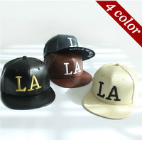 New Arrival Snapback Fashion Men's Womens LA Letter Embroidery Leather Flat brim Cap Hip-hop Hat Baseball Caps Casual Hats