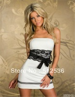 Hot fantastic off-shoulder peplum dress,bowknot party club wear evening dress