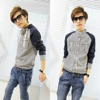 2013 autumn the disassemblability with a hood long-sleeve shirt male long-sleeve shirt raglan sleeve male