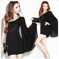 High quality/Free shipping/Shoulder horn sleeve dress/Slim package hip skirt/Shoulder Dress