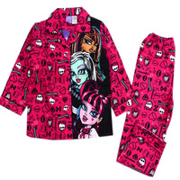 Drop Shipping(6set/lot) Brand New Girls Monster High School Carton Sleepwear Children's Fashion Pajamas Suits Kids Pyjamas Sets