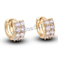 Free shipping!!!Brass Hoop Earring,innovative, 18K gold plated, with cubic zirconia, nickel, lead & cadmium free, 6mm