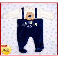 Gloriajeans male female child velvet long-sleeve romper