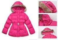 Female child belt thermal thickening down cotton waterproof skiing cotton-padded jacket clothes