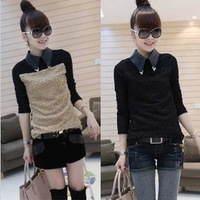Free shipping 2013 women's plus velvet thickening basic shirt female long-sleeve lace patchwork thermal shirt