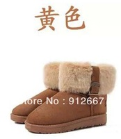 Brown boots Women fashion snow boots winter boots suede flat boots hasp women's shoes cotton boots