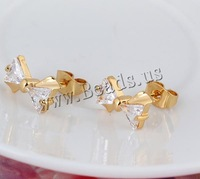Free shipping!!!Brass Stud Earring,Tibet Jewelry, Bowknot, 18K gold plated, with cubic zirconia, nickel, lead & cadmium free