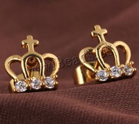 Free shipping!!!Brass Stud Earring,Designer, Crown, 18K gold plated, with cubic zirconia, nickel, lead & cadmium free, 10.5mm