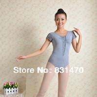 Elegant lace short sleeve women ballet dance leotards wear black/white/grey gymnastic leotards M/L/XL/XXL free shipping