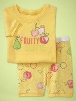 children Girl's homewear Yellow fruit alphabet summer wear short sleeves t shirt+Shorts cotton sleepwear 6set/lot