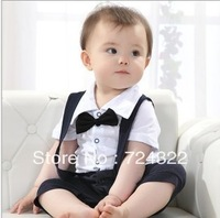4pcs/lot New Fashion Baby Infant Newborn Toddler Boys Gentleman Romper Short-sleeved Leotard Climbing Clothes Free Shipping