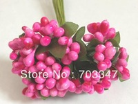 (8 Colors Can Mix) 720 pcs=60 BUNCHES X Cluster Of Tiny Berries And Leaves  Mini  Berry Pick Scrapbooking Flower *Free Shipping*