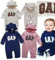 Hot sale!   children brands clothes baby girl baby boy lovely bear long  sleeve romper one piece romper