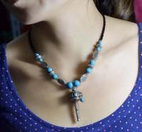 National trend accessories tibetan silver tibetan jewelry turquoise turning tube necklace pendant csxl003