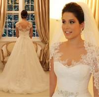 Wanda borges Vestidos de noiva white 2014 vintage lace wedding dress cap Sleeves casamento bride dress Off shoulder Custom!