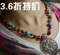 Handmade sweater unique national trend accessories vintage tibetan silver tibetan jewelry necklace pendant csxl008