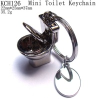 Fashion High Quality Shiny Zinc Alloy Mini Toilet Keychains,Closestool Charms Christmas Jewelry,Free Shipping when order > $8