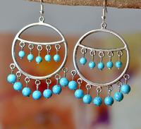 Handmade national trend vintage accessories tibetan jewelry tibetan silver personalized big circle drop earring earrings yc056