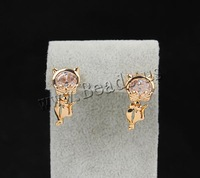 Free shipping!!!Brass Stud Earrings Clearance 18K gold plated with cubic zirconia nickel lead & cadmium free 21mm