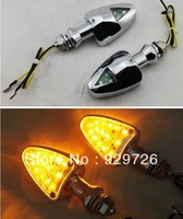 Free Shipping Clear&Silver Aluminum 10mm Stalk Motorcycle 18 LED Turn Signals Blinker Lights