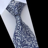 Tie male formal commercial tie silver blue color decorative pattern