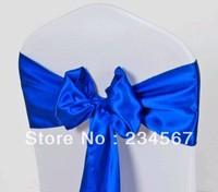 100pcs royal blue satin chair sash bow ribbon wedding party banquet decoration free shipping