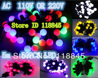 Waterproof 5m 50 LED 110V or 220V Led string light  Led Ball String Lights Lighting Garland Christmas Holiday Party  led Light