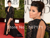Eva Longoria 2013 Golden Globe Awards Open Back Lace Split Chiffon Long Sleeve Evening Dress Celebrity Red Carpet Dress