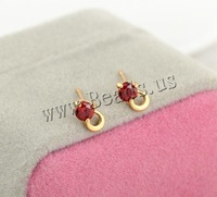 Free shipping!!!Brass Stud Earring,tibetan, 18K gold plated, with cubic zirconia, nickel, lead & cadmium free, 8.5mm