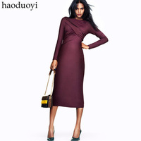 HD007 2014 SPRING WINTER NEW europe brand fashion long-sleeved slim casual OL office dresses for women ladies plus size