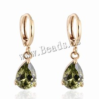 Free shipping!!!Brass Lever Back Earring,Designs, Teardrop, 18K gold plated, with cubic zirconia, nickel, lead & cadmium free