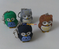 200pcs/lot Owl Shape Keyring with LED light and Owl Sound Effect 5cm ABS +EMS/ Fedex Free shipping