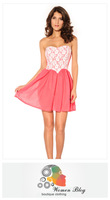 2013 lace tube top tube top lovely small dress fashion one-piece dress girl lace tee dress evening dress