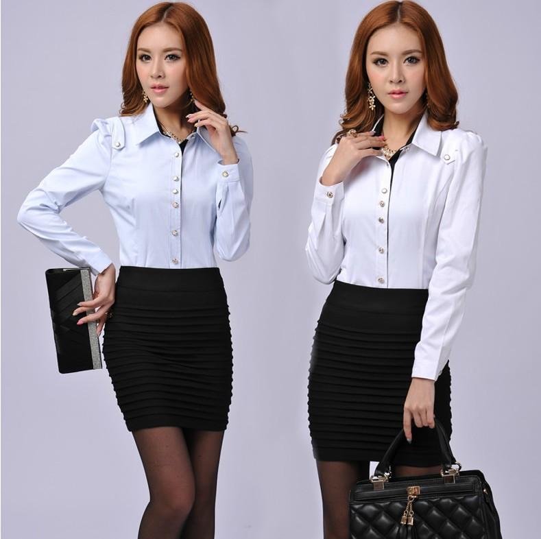 New Fashion Women OL Dress Shirt Autumn Winter Shirts Size ...